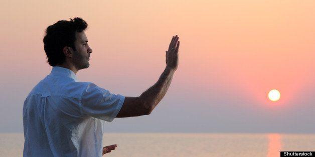 handsome man practicing thai...