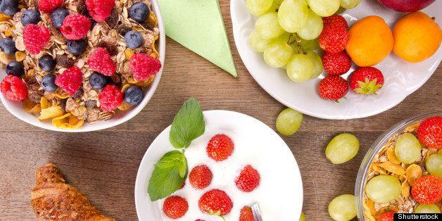 healthy breakfast on wooden...