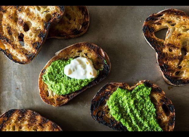 """<em><strong><a href=""""http://food52.com/recipes/5014-grilled-bread-with-thyme-pesto-and-preserved-lemon-cream"""" target=""""_hplink"""