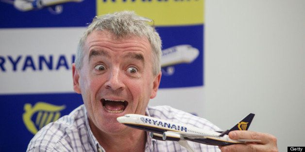 BRATISLAVA, SLOVAK REPUBLIC - APRIL 10: Ryanair CEO Michael O'Leary gestures during a press conference on April 10, 2013 in Bratislava, Slovakia. O'Leary plans to remove some toilets in his planes for extra seats. (Photo by Vladimir Simicek/isifa/Getty Images)