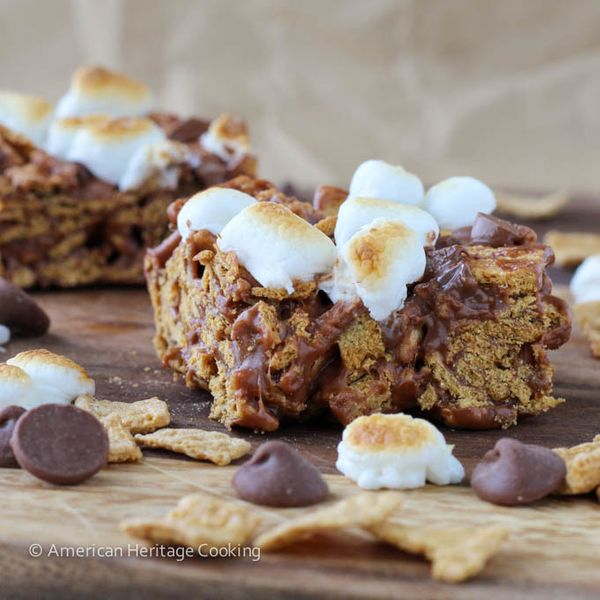 """<strong>Get the <a href=""""http://americanheritagecooking.com/2014/07/toasted-marshmallow-golden-graham-smores-bars/"""" target=""""_"""