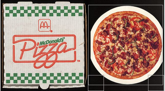 "That's right, McDonald's actually once served a <a href=""http://www.flickr.com/photos/roadsidepictures/1544645159/"">pizza</a>"