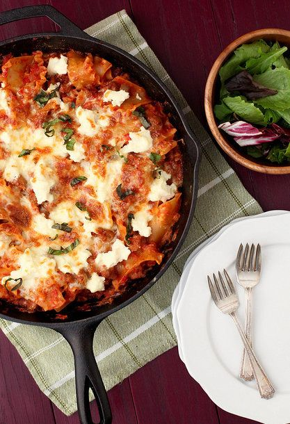 "<strong>Get the <a href=""http://www.annies-eats.com/2012/11/28/skillet-lasagna/"" target=""_blank"">Skillet Lasagna Recipe</a> f"