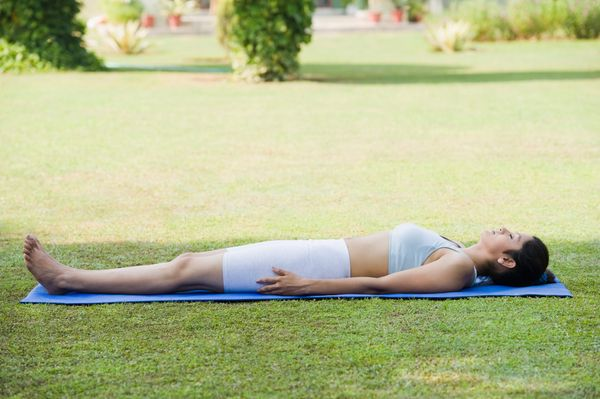 Get your body into sleep mode with a simple corpse pose, focusing the attention on the body and breath, and letting go of the