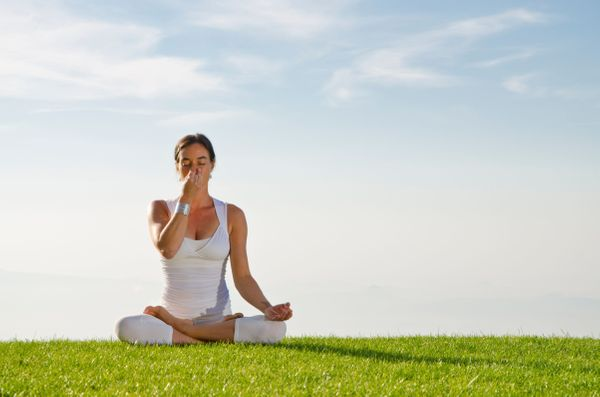 To try this relaxing breathing exercise, or pranayama, you can either sit up crossed-legged or lie down on your right side. C