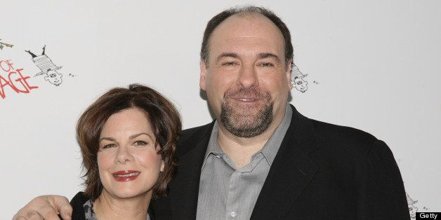 NEW YORK - FEBRUARY 20:  Actors Marcia Gay Harden and James Gandolfini attend the 'God Of Carnage' Broadway photo call at the