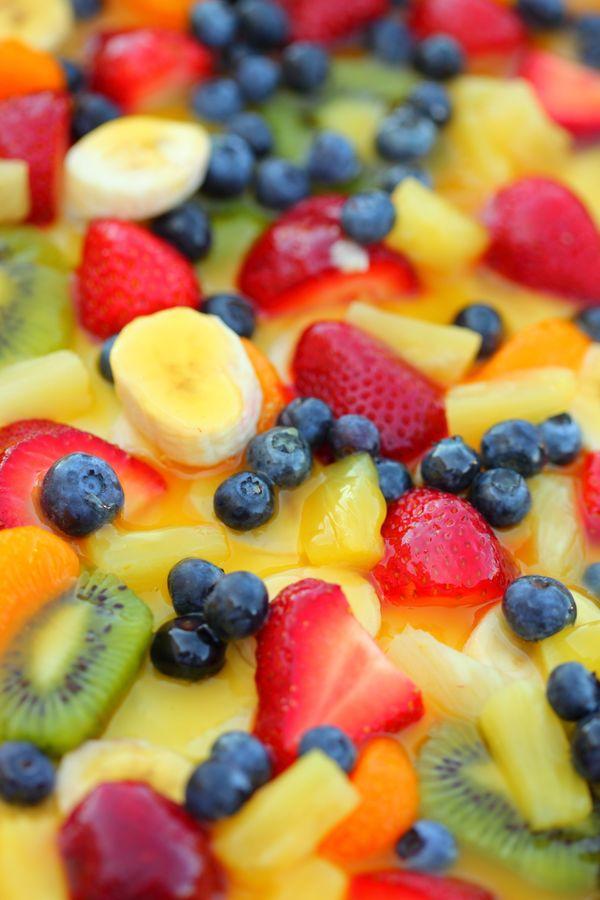 """Strawberries, watermelon, cherries, mango, peaches, blueberries, raspberries are all in season right now. I pre-cut the frui"