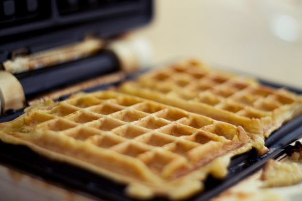 """""""If you have a Belgian waffle maker, it can make a large waffle that you can divide into fourths. Keep them in the oven until"""