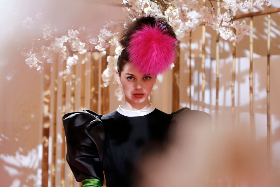 A model presents a creation by French fashion designer Christian Lacroix for Elsa Schiaparelli during a presentation as part