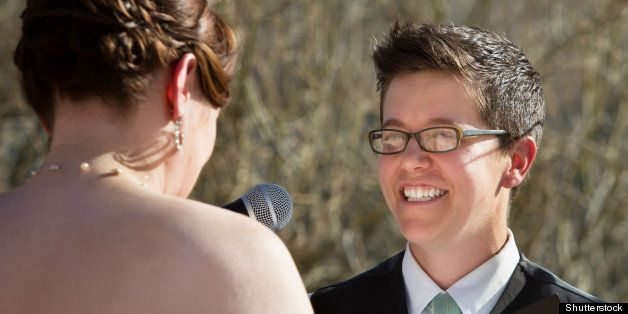 happy lesbian lady reading vows ...