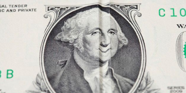 american money One dollar banknote with george washington face smile ( wrinkle money) , concept for business and finance