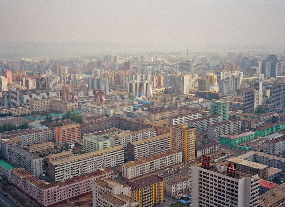 Pyongyang as seen from the top of the Juche Tower.
