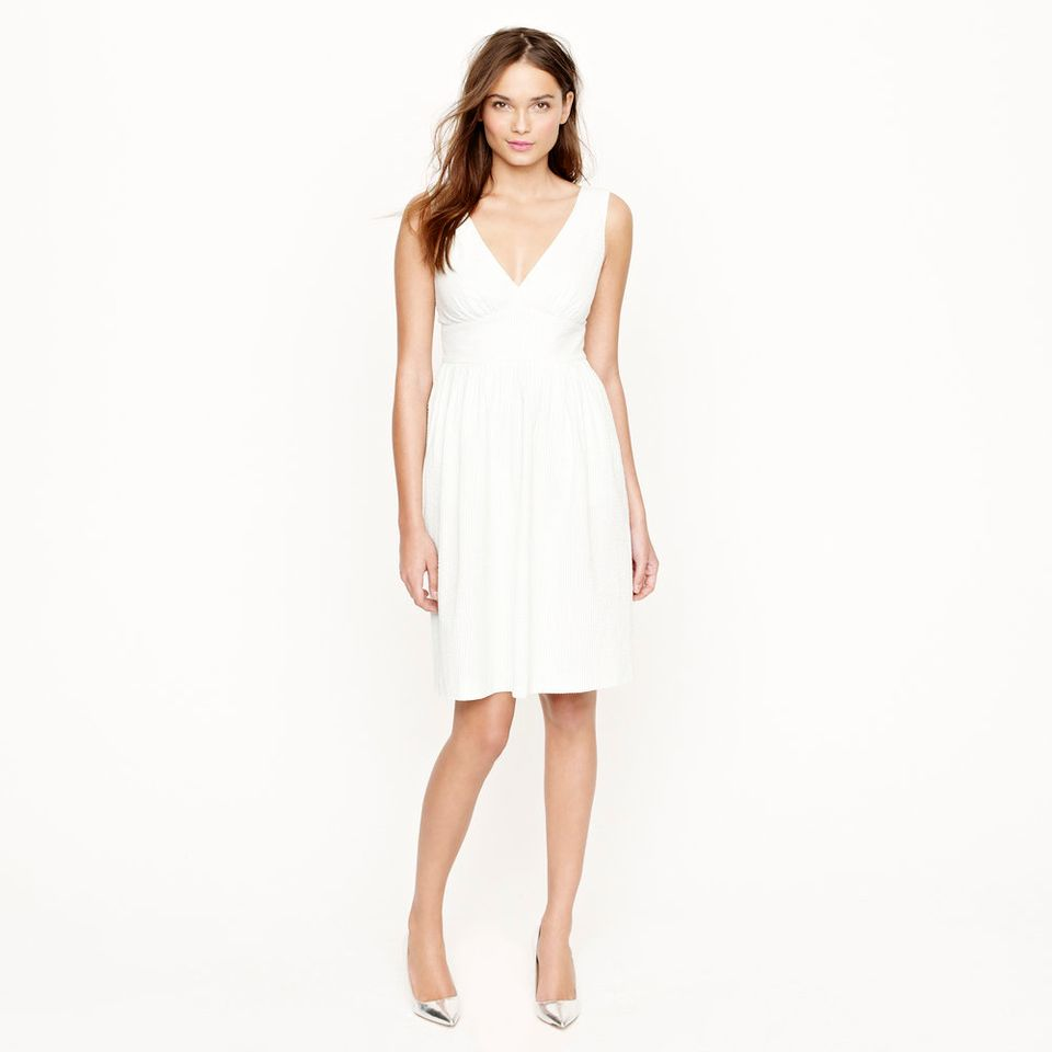 "This lightweight seersucker dress would be perfect for a laid-back summer wedding.  <a href=""http://lover.ly/explore?q=short+"
