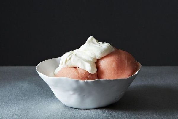 """<strong>Get the <a href=""""http://food52.com/recipes/21988-rhubarb-and-gin-sorbet-with-rose-cream"""" target=""""_blank"""">Rhubarb and"""