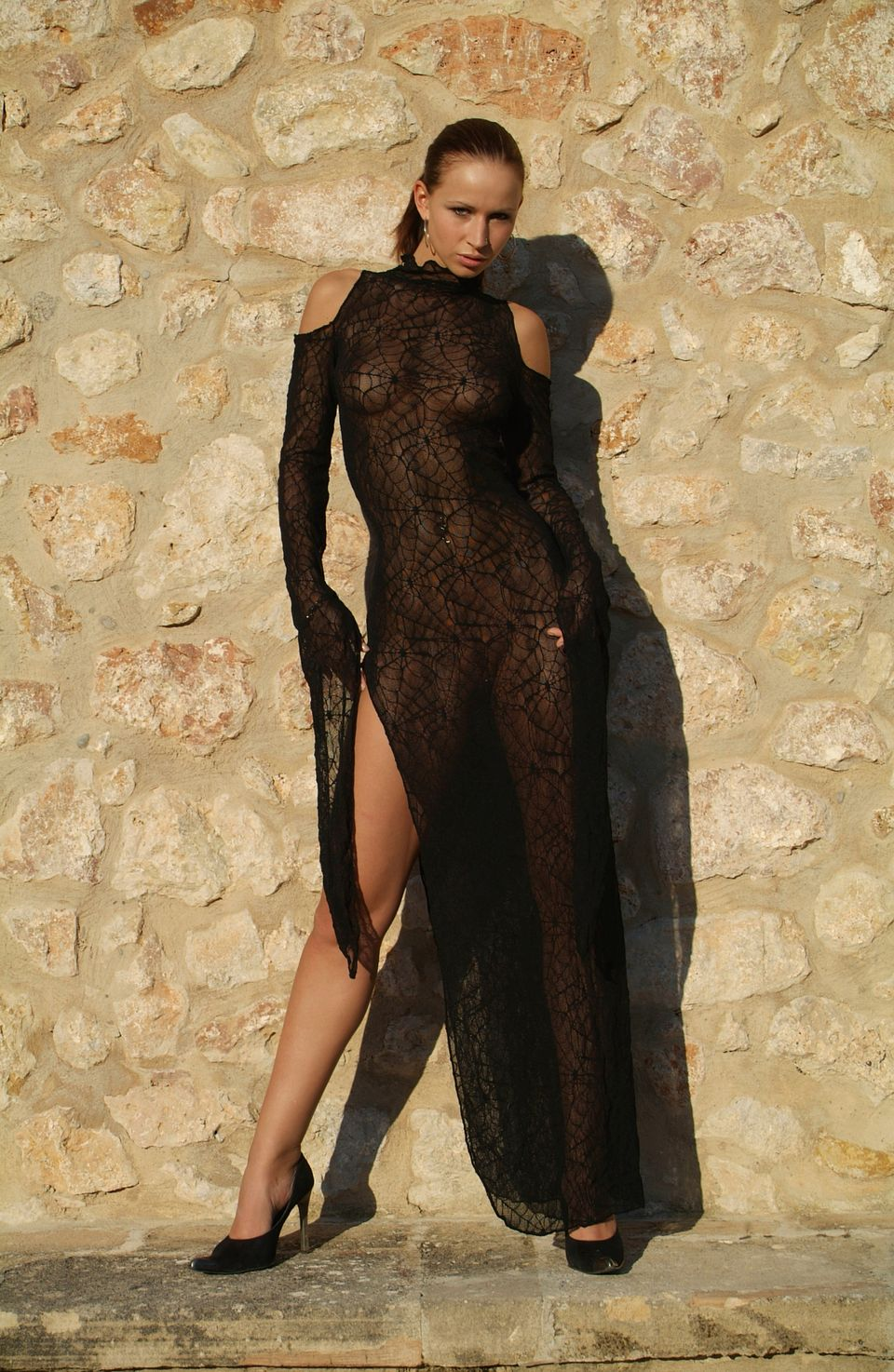 """@mrenzi1: """"A very tight black maxi dress with no bra. Her nipples were visible. Lovely."""""""