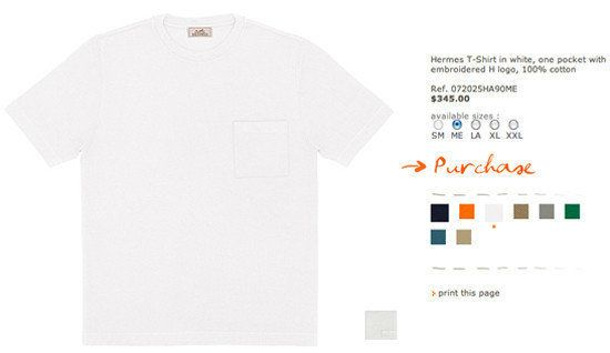 Hermes T-Shirt in white, one pocket with embroidered H logo, 100% cotton. $345.00.