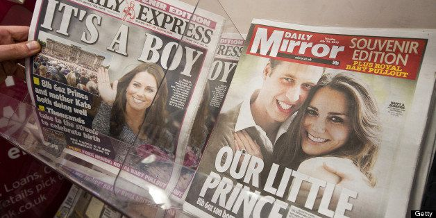 Newspaper front pages report news of the birth of a new royal baby in London on July 23, 2013. International messages of congratulations poured in for the Duke and Duchess of Cambridge following the birth of the third in line to the throne, celebrated by gunfire salutes across London. AFP PHOTO / WILL OLIVER        (Photo credit should read WILL OLIVER/AFP/Getty Images)