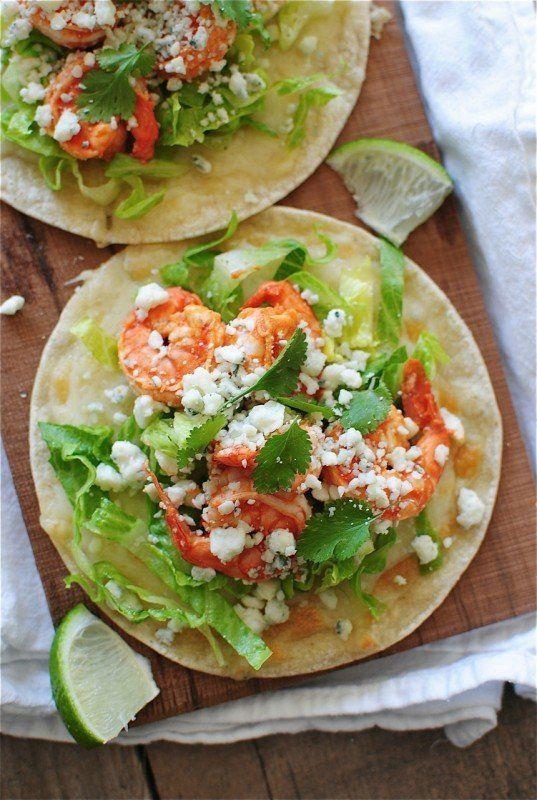 """<strong>Get the <a href=""""http://bevcooks.com/2013/04/buffalo-shrimp-tostadas/"""" target=""""_blank"""">Buffalo Shrimp Tostadas recipe"""