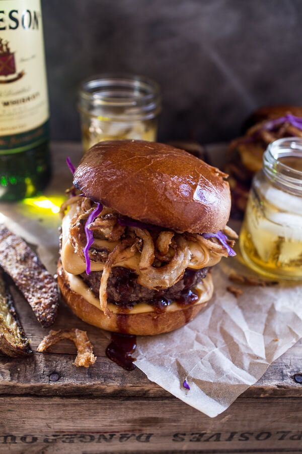 """<strong>Get the <a href=""""http://www.halfbakedharvest.com/jameson-whiskey-blue-cheese-burger-with-guinness-cheese-sauce-crispy"""