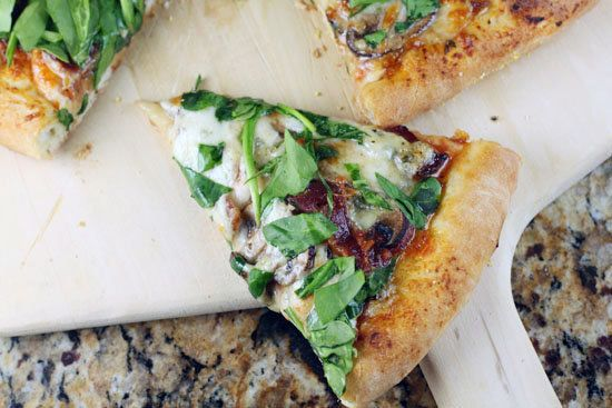 """<strong>Get the <a href=""""http://www.macheesmo.com/2011/02/the-delta-blues/"""" target=""""_blank"""">Delta Blues Pizza recipe</a> by M"""