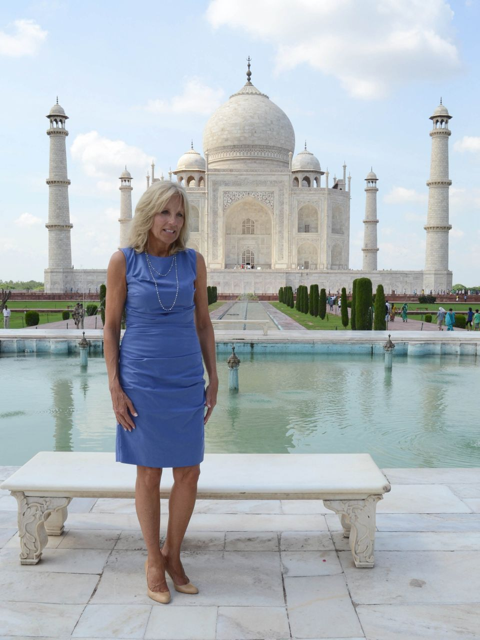 Jill Biden, wife of US Vice President Joe Biden, poses during a visit to the Taj Mahal monument in Agra on July 23, 2013.   (