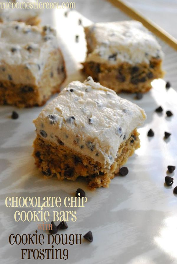 """<strong>Get the <a href=""""http://thedomesticrebel.com/2012/12/31/chocolate-chip-cookie-bars-with-cookie-dough-frosting-a-redo-"""