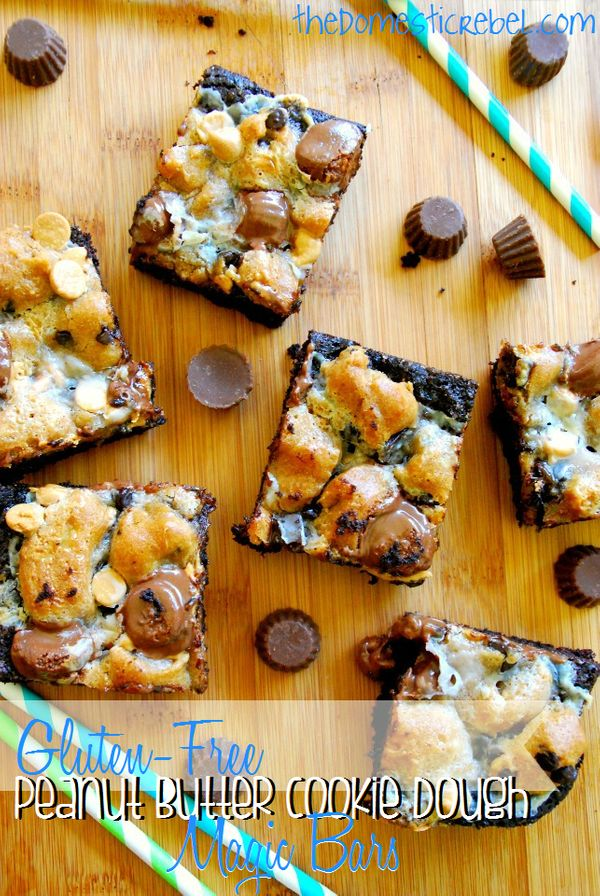 """<strong>Get the <a href=""""http://thedomesticrebel.com/2013/07/19/gluten-free-peanut-butter-cookie-dough-magic-bars/"""" target=""""_"""