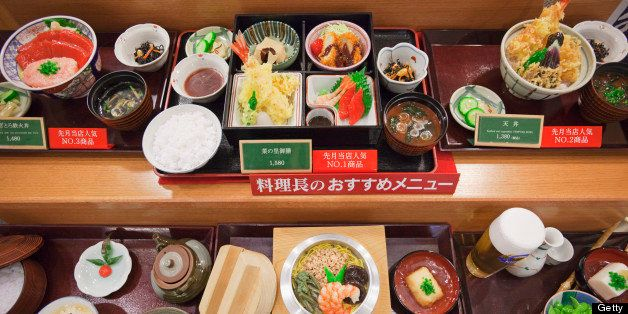 Japan, Honshu, Kanto Region, Tokyo Prefecture, Plastic food dish in the display window of a Japanese restaurant