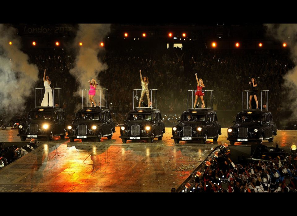 A general view of the Spice Girls performing in the Athletics stadium during the closing ceremony of the 2012 London Olympic