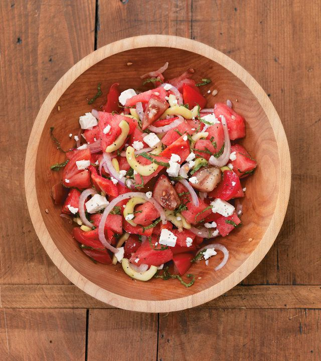 "<strong>Get the <a href=""http://www.steamykitchen.com/16505-tomato-and-watermelon-salad.html"" target=""_blank"">Tomato and Wate"