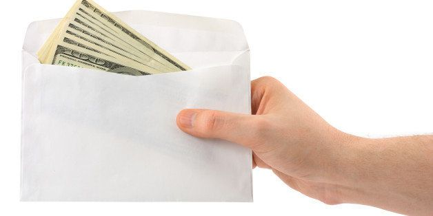 hand and money in envelope...