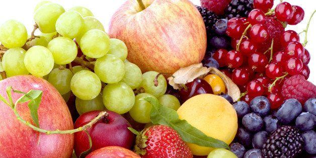 fruit platter close up on white ...