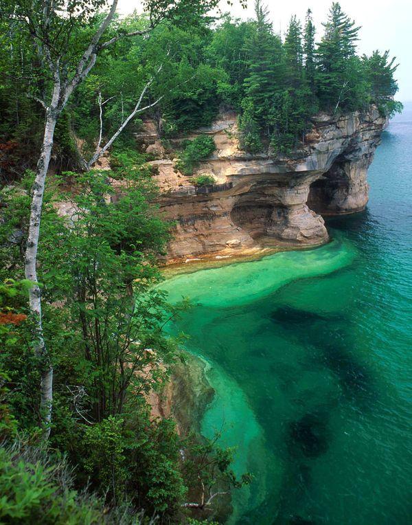The Pictured Rocks National Lakeshore on Lake Superior, Michigan. AP Photo/Bob Brodbeck.