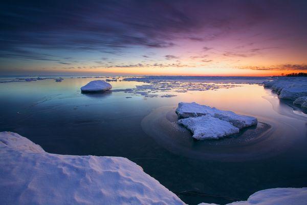 A winter sunset at Tiny Beach, Georgian Bay, Ontario.
