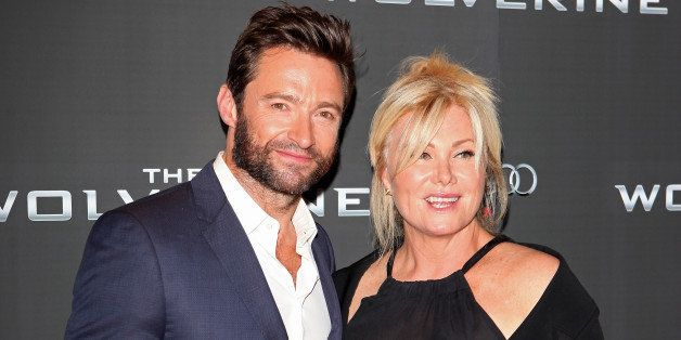 LONDON, ENGLAND - JULY 16: (EMBARGOED FOR PUBLICATION IN UK TABLOID NEWSPAPERS UNTIL 48 HOURS AFTER CREATE DATE AND TIME. MANDATORY CREDIT PHOTO BY DAVE M. BENETT/WIREIMAGE REQUIRED) Hugh Jackman (L) and wife Deborra-Lee Furness attend the UK Premiere of 'The Wolverine' at Empire Leicester Square on July 16, 2013 in London, England. (Photo by Dave M. Benett/WireImage)