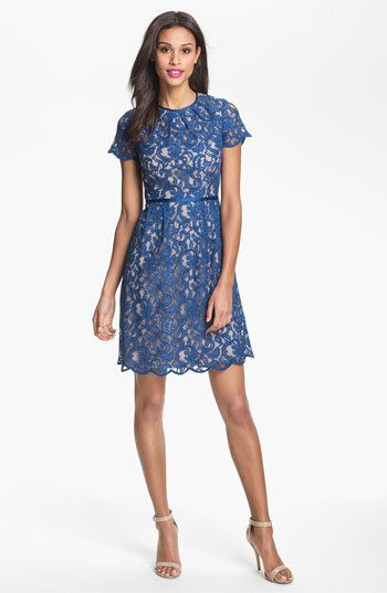 """Lovely lace gets an added boost of charm with this vibrant color.  Adrianna Papell Scalloped Lace Dress From <a href=""""http://"""