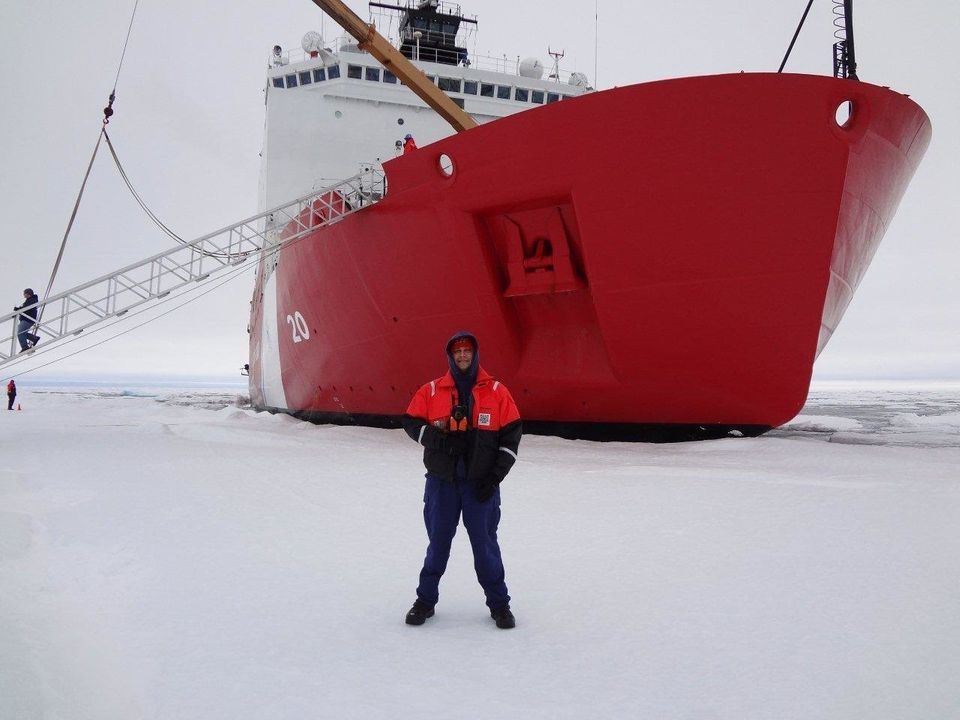 Gerald Orellana and Evelynbear during ice liberty (when the crew can go out on the ice surrounding the ship).