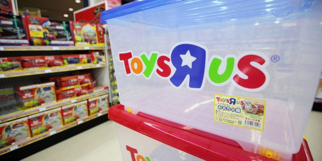 The Toys 'R' Us Inc. logo is seen on a plastic container stacked in one of the company's stores in Sendai City, Miyagi Prefecture, Japan, on Thursday, Sept. 30, 2011. Toys 'R' Us Inc. is the world's largest toy chain. Photographer: Andy Hung/Bloomberg via Getty Images