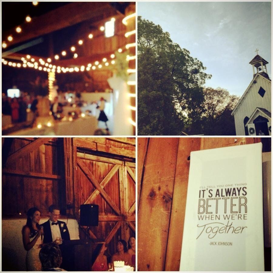 """My cousin had a gorgeous barn wedding this past weekend -- first in a sweet, small church for the ceremony, and then a beaut"