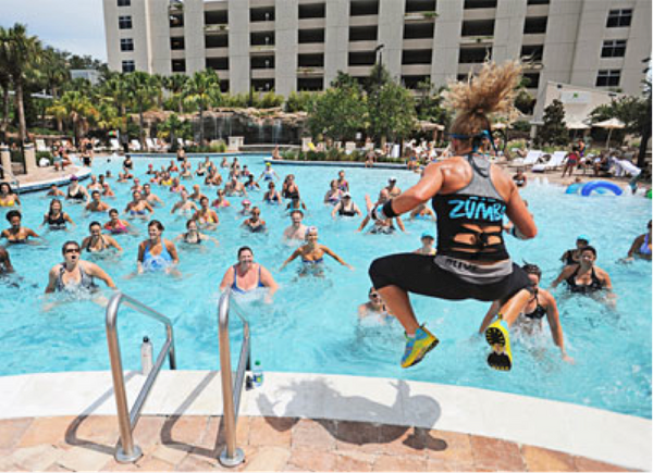 What do you get when you mix Zumba and water? Why, Aqua Zumba, of course. Performed in a pool and offered at gyms nationwide,