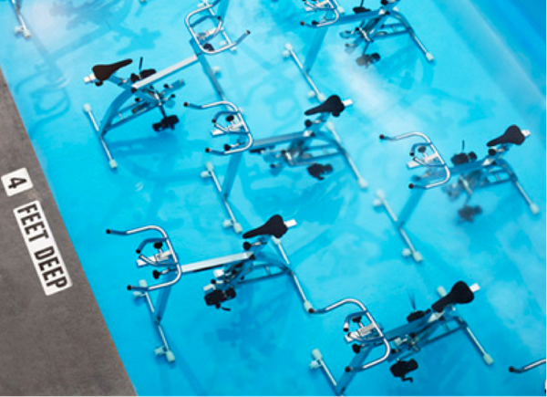 Since most Spinning classes make us look as if we've just stepped out of a pool, we couldn't resist one that involves just th