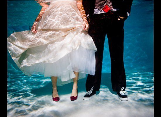 <strong>Photo by: </strong>Red Heart Photo/ The Knot  This couple didn't hesitate to take the plunge!  <strong>More from