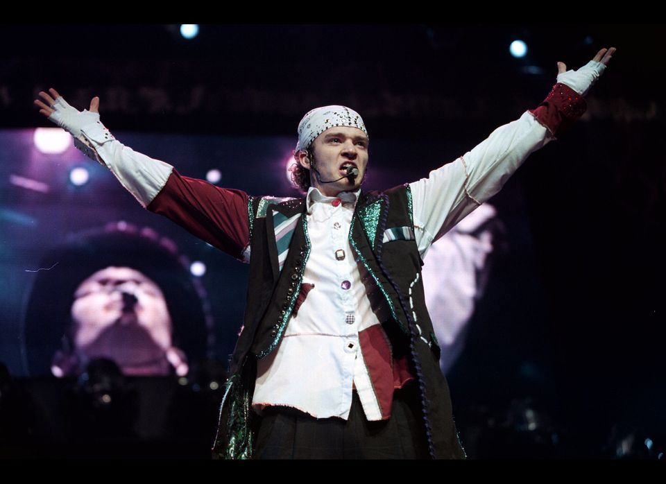 Justin Timberlake of the pop music group 'N Sync performs in concert during the group's 2000 world tour.