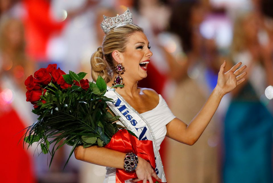 Miss New York Mallory Hagan waves after she was crowned Miss America 2013 on Saturday, Jan. 12, 2013, in Las Vegas. (AP Photo