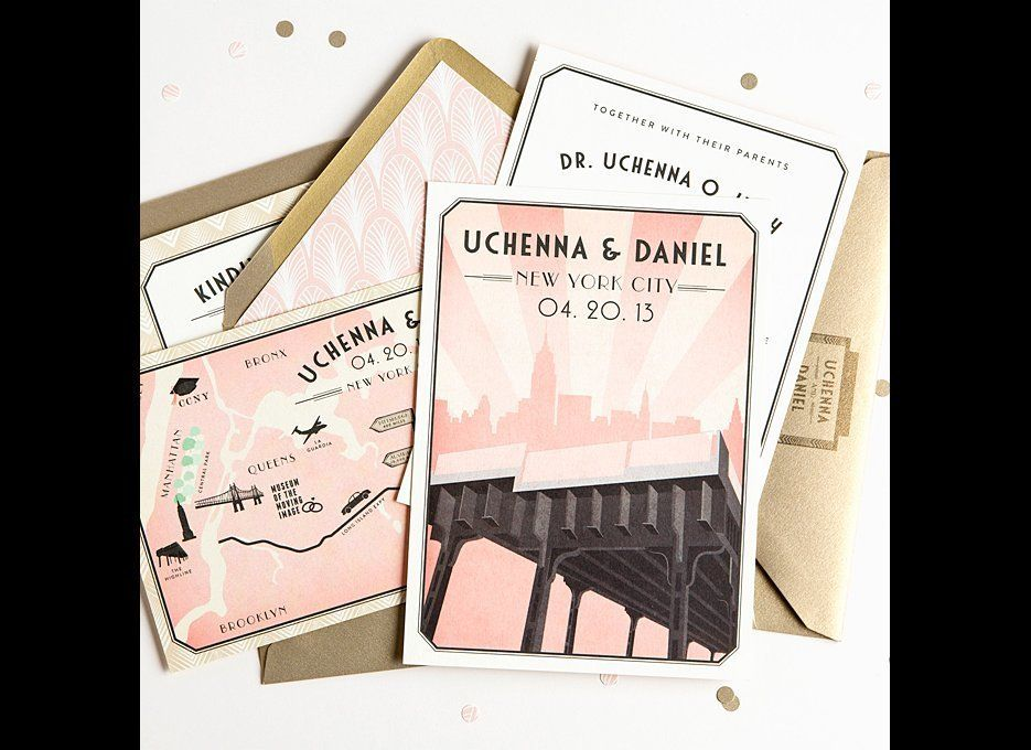 """A Retro-Inspired Invitation for a New York City Destination Wedding """"New York City"""" invitation suite, starting at $1,500 for"""