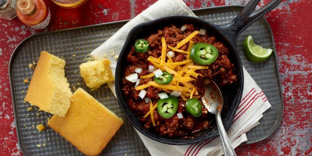 Chili, Cast iron Chili, Corn Bread, Texas Chili, Cowboy Chili