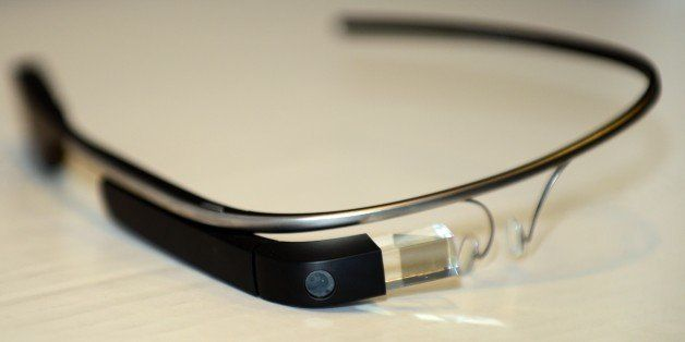 Google Glass is displayed ahead of a discussion at the University of Southern California's Annenberg School for Communication