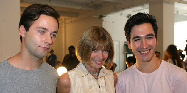Jack McCoullough, Anna Wintour, Lazaro Hernandez during Tom Pecheux creates the beauty look at the Proenza Schouler Show at M