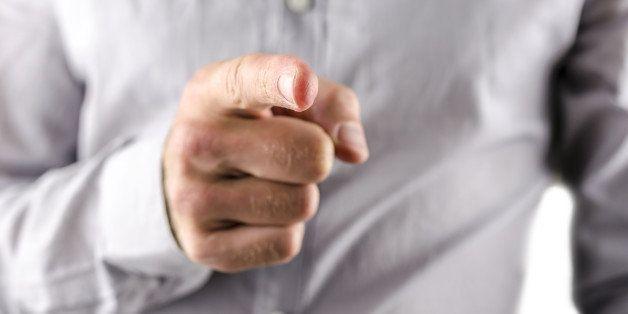 closeup of businessman pointing ...