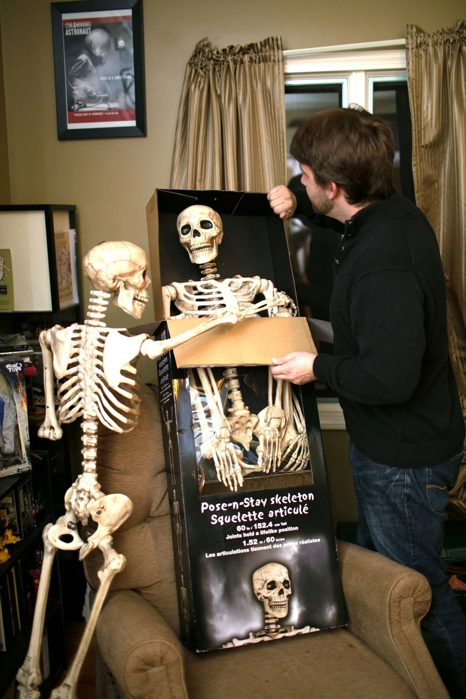 Writer J.W. Ocker purchased two plastic skeletons to hang out with him at his house, he named one T and the other one C.   Ph